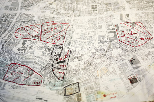 A map showing parts of affected areas is seen in a volunteer base camp that was set up to lead relief and rehabilitation in the aftermath of a massive explosion in Beirut port, Lebanon