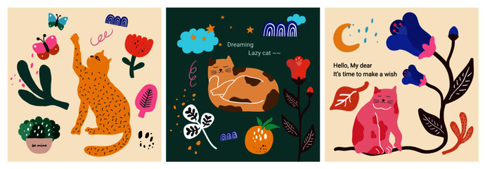 Cute & lazy cat character collection. Each scene combines natural decorative elements such as cats, butterflies, flowers, and trees to create a story and complete it with a modern illustration.