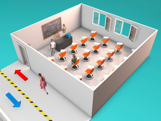 School desk for anti covid-19 measures. To fight the coronavirus, new desks in schools. 3d render. Differences between a classic classroom and one with the new anti covid desks