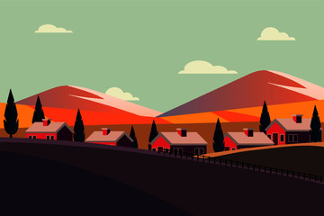 Poster de jardin Olive Houses in the mountains