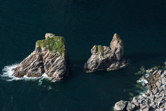 Sea stacks at Slieve League cliffs, on the west coast of Donegal, Republic of Ireland.