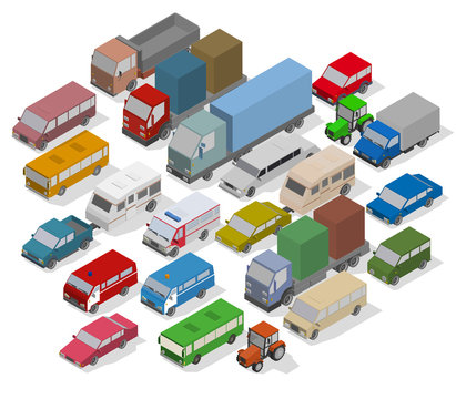 Traffic Jam. Isometric Cars and Houses for Illustration Of Busy Road.