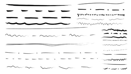 Set of artistic pen brushes. Hand drawn grunge strokes. Hand drawn doodle line borders. Pencil scribble sketch pattern for frames design