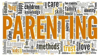 Parenting vector illustration word cloud isolated on a white background.