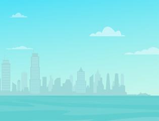Photo sur Plexiglas Turquoise Modern City Skyline over the sea. City Street Landscape.