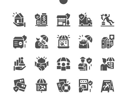 Business Insurance Well-crafted Pixel Perfect Vector Solid Icons 30 2x Grid for Web Graphics and Apps. Simple Minimal Pictogram