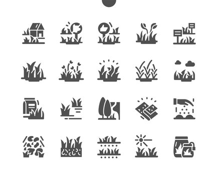 Types Garden grass Well-crafted Pixel Perfect Vector Solid Icons 30 2x Grid for Web Graphics and Apps. Simple Minimal Pictogram