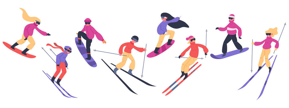 Skiers and snowboarders. Winter sport activities, people on snowboard, young skiers and snowboarders jump on mountain vector illustration set. Extreme snow mountain, snowboard and snowboarding