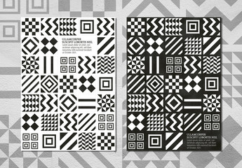 Monochrome Geometric Patterns Background Event Poster Layout