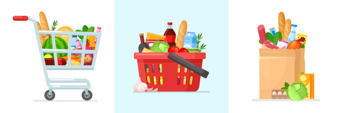 Shopping bags. Vector set of supermarket shopping cart and basket with fresh grocery products. Grocery store. Paper and plastic packages with natural food, organic fruits, vegetables. Eco paper bag.