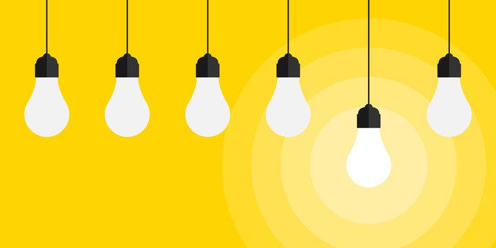 Idea. Bright idea and insight concept with light bulb, creative idea and leadership concept background. Vector illustration