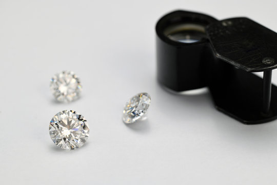 Diamonds on jewelry table