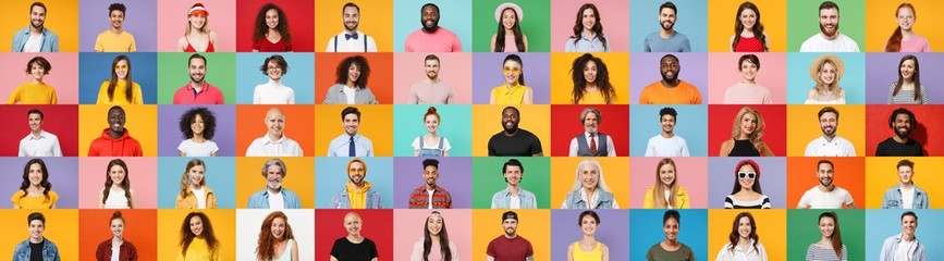 Photo set collage of faces of multiethnic happy fun smiling people, men and women group different ages wearing casual clothes isolated on colorful background studio portraits. Human facial expressions