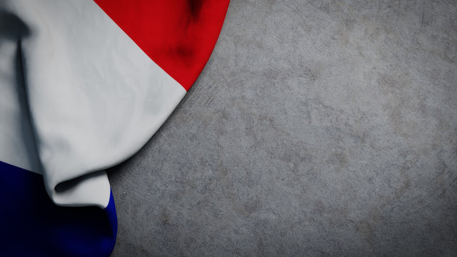 Flag of France on concrete backdrop. French flag background with copy space