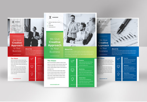 Business Flyer Layout with Rectangular Layout in Gradient Accents