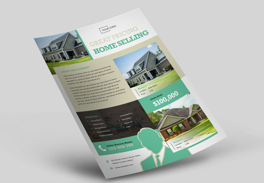 Real Estate Flyer Layout with Green and Grey Accents