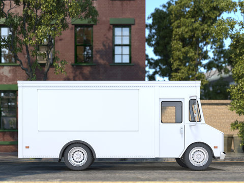 White Blank Food Truck With Closed Window. Modern Cityscape. Takeaway Food And Drinks. Mock Up. Copy Space, Empty Space. 3d rendering