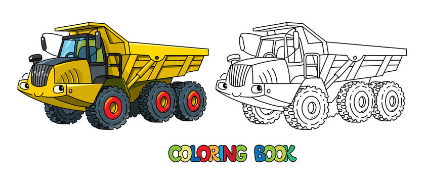 Articulated dump truck car with eyes coloring book