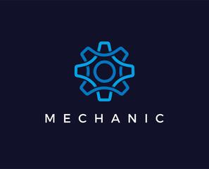 minimal gear logo template - vector illustration