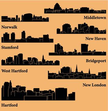 8 Cities in Connecticut (Hartford, New London, New Haven, West Hartford, Middletown, Stamford, Bridgeport, Norwalk )