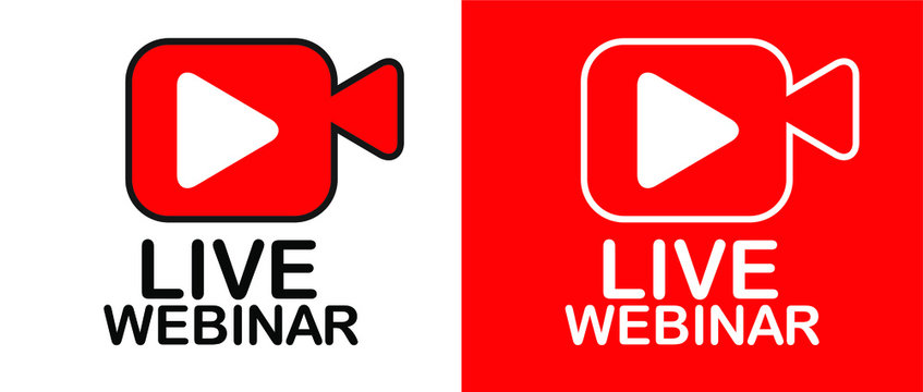 Live Webinar Button, icon, emblem label. Live streaming. Vector illustration. Isolated.