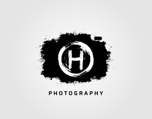 Photography letter H logo design concept template. Rusty Vintage Camera Logo Icon.