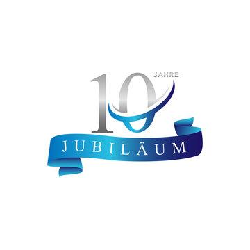 10 anniversary swoosh ring logo vector blue ribbon