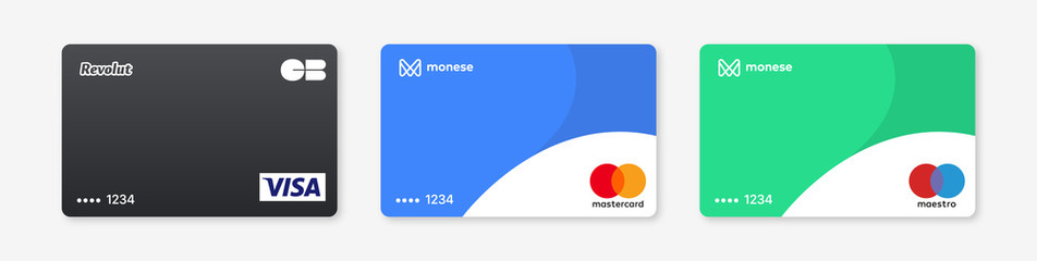 Realistic bank card vector icons set : Visa, Mastercard, Maestro, CB. Isolated plastic credit card design on white background. Signs cards with numbers, logos, badges. PARIS, FRANCE – AUGUST 27, 2020.