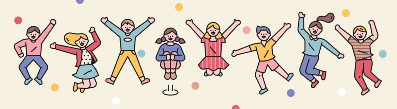 Cute children are jumping with excitement. flat design style minimal vector illustration.