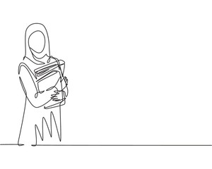 Single continuous line drawing of young female muslim businesswoman carrying annual report books to business meeting. Arab middle east cloth hijab and veil. One line draw design vector illustration