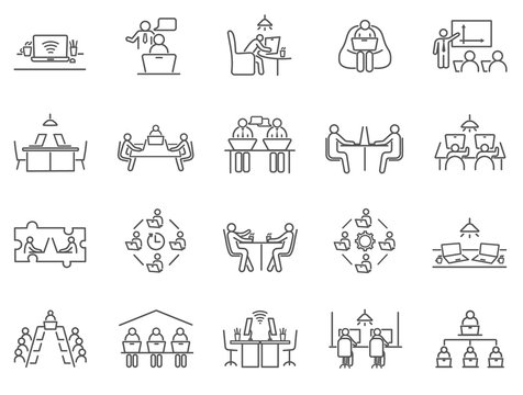 Large collection of co-working or teamwork icons showing groups of businesspeople in meetings or remote working, black and white line drawn vector illustrations