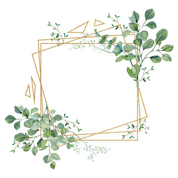 Watercolor frame with green floral, eucalyptus greenery leaves on golden frame. Baby nursery decor, greenery baby shower, wedding card, greenery invintation card.