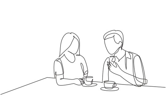 Single continuous line drawing of young happy male and female couple doing romantic date and dinner together at coffee shop. Marriage life concept. One line draw design vector graphic illustration
