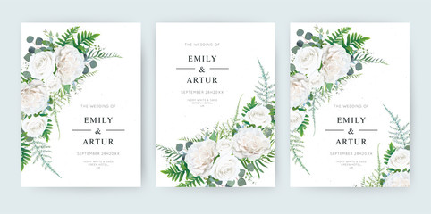 Wedding invite, invitation save the date card floral design. Elegant watercolor stylre ivory white garden peony Rose flowers, fern asparagus fern leaves & greenery. Vector trendy editable template set