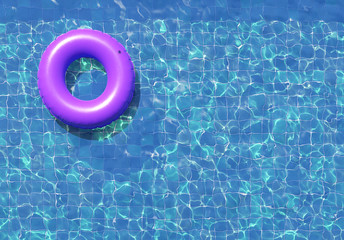 Swimming ring in blue swimming pool. 3d illustration