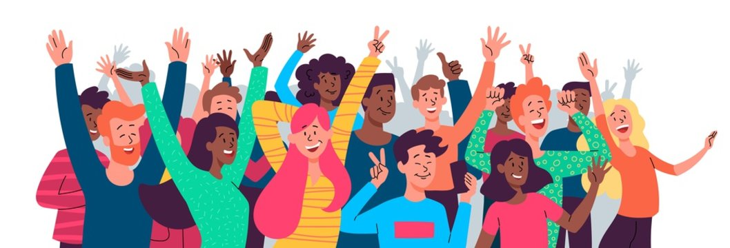 Crowd of happy diverse multiethnic celebrating people, poster or banner with crowd taking photos selfie with phones, screaming shouting and waving hands, flat vector illustration isolated on white