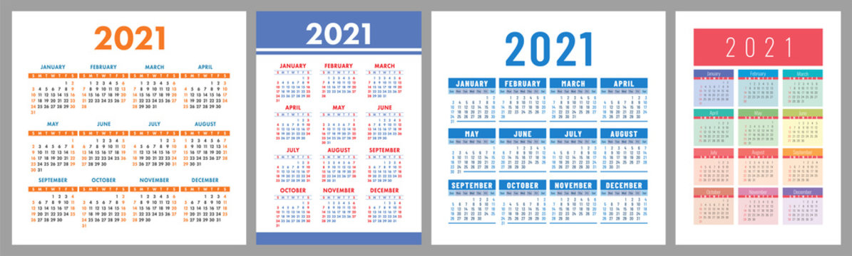Calendar 2021 year set. Vector template collection. Simple design. Week starts on Sunday. January, February, March, April, May, June, July, August, September, October, November, December