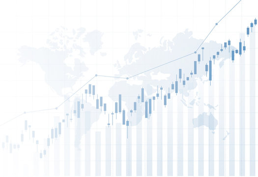 Financial stock market graph on stock market investment trading.