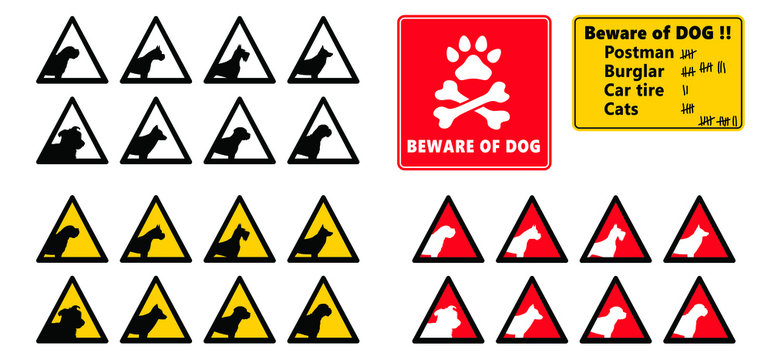 Danger, warning. Slogan beware of the dog, beware of the cat sign Vector love animals footprints, steps, foot, feet, footsteps pictogram label for hound, puss, pussy, woof, meow quote. Caution signs