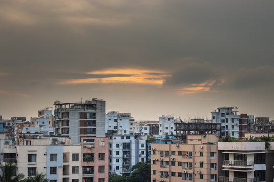 Dhaka city cityscape with nice sky and buildings