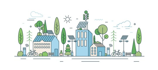 Fototapeta Cityscape with modern eco friendly technology vector illustration in line art style. Municipal area with ecology transport, wi-fi zone, natural park and solar energy equipment isolated on white obraz