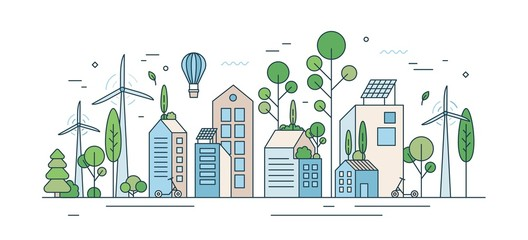 Cityscape with environmentally friendly technology or ecology protection vector illustration in line art style. City landscape with solar energy equipment, kick scooter and wind power isolated