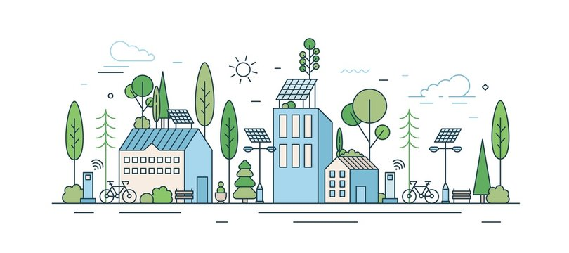 Cityscape with modern eco friendly technology vector illustration in line art style. Municipal area with ecology transport, wi-fi zone, natural park and solar energy equipment isolated on white