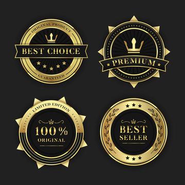set of premium golden black sale medal vector