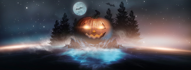 Abstract fantasy halloween background. Night landscape with a magical island, pumpkin and shining eyes. Dark forest, lkna, reflection in the river.