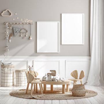 Mock up frame in children room with natural wooden furniture, 3D render