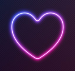 Gradient neon heart, blue-pink glowing border isolated on a dark background. Colorful night banner, vector light effect. Bright illuminated shape.