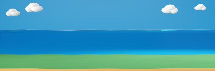 3D rendering illustration of a cross section of water , ocean, sea, isolated on blue background