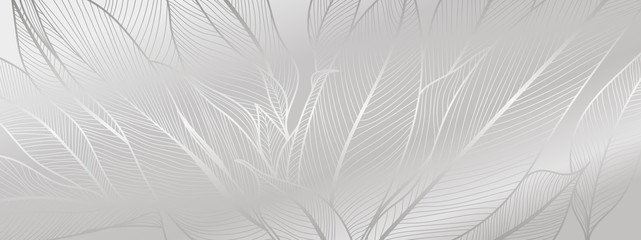 Silver leaf botanical modern art deco wallpaper background vector. Line arts background design for interior design, vector arts, fashion textile patterns, textures, posters, wrappers, gifts etc.