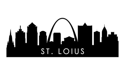 St.Louis skyline silhouette. Black St.Louis city design isolated on white background.